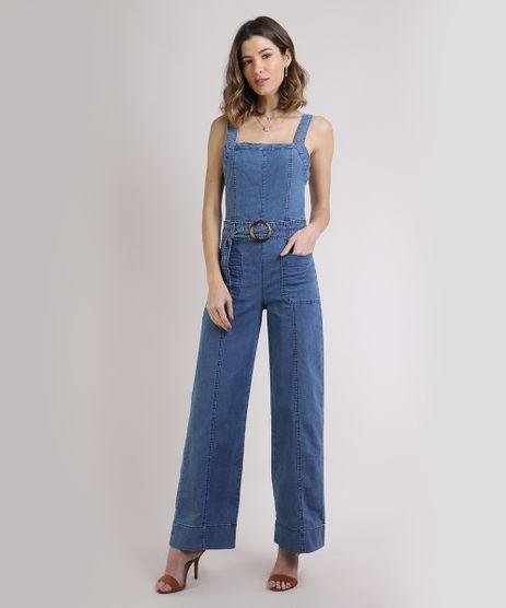Macacao-Jeans-Feminino-Flare-com-Cinto-de-Fivela-Azul-Medio-9944887-Azul_Medio_1