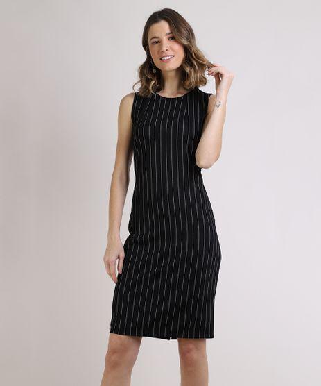 Vestido-Feminino-Basico-Curto-Estampado-Risca-de-Giz-Sem-Manga-Preto-9832642-Preto_1