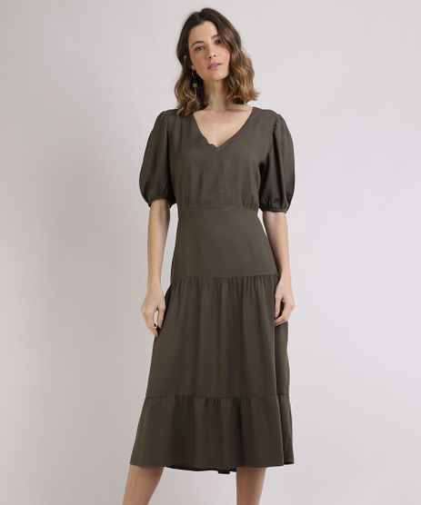 Vestido-Feminino-Midi-com-Recortes-Manga-Bufante-Verde-9944742-Verde_1