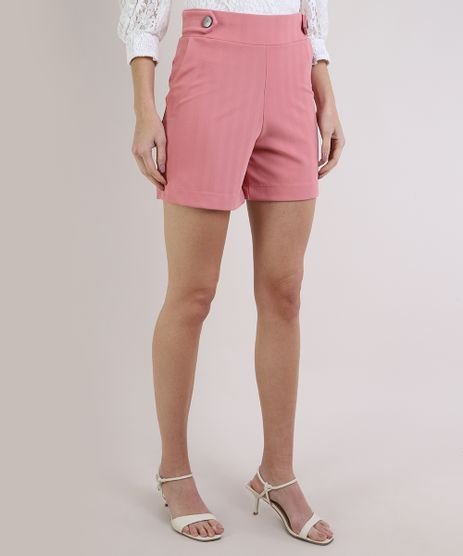 Short-Feminino-Basico-Cintura-Alta-com-Botoes-e-Bolsos-Rosa-Claro-9953176-Rosa_Claro_1