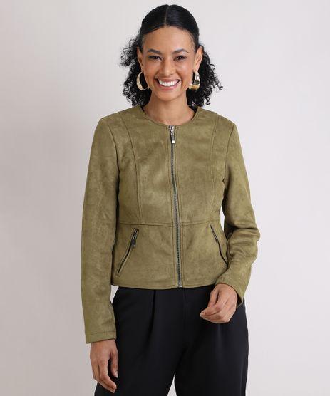 Jaqueta-Feminina-em-Suede-com-Bolso-Verde-Militar-9818019-Verde_Militar_1