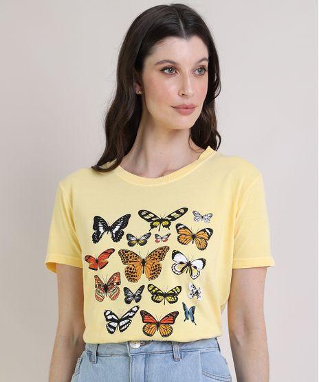 T-Shirt-Feminina-Mindset-Borboletas-Manga-Curta-Decote-Redondo-Amarela-9947384-Amarelo_1