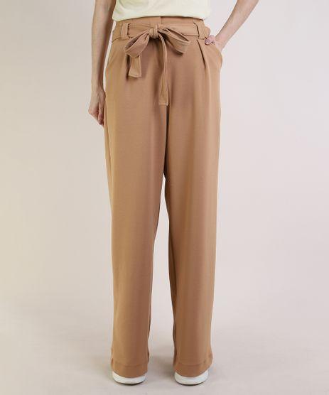 Calca-Feminina-Mindset-Pantalona-Cintura-Super-Alta-com-Faixa-para-Amarrar-Caramelo-9949310-Caramelo_1