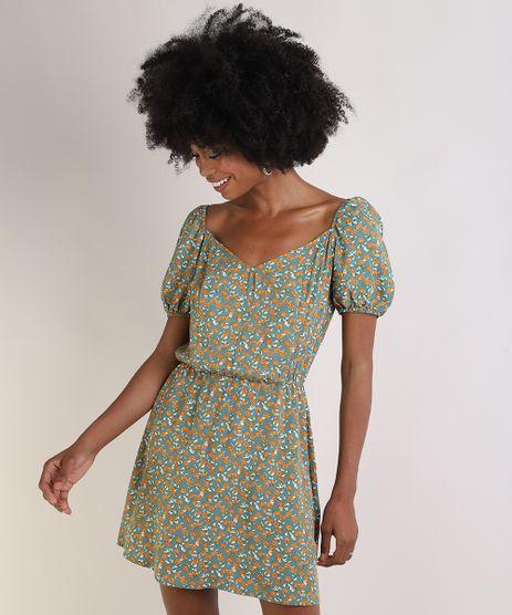 Vestido-Feminino-Curto-Estampado-Floral-Manga-Bufante-Decote-Reto-Verde-9947738-Verde_1