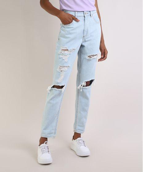 Calca-Jeans-Feminina-Mom-Cintura-Alta-Destroyed-Azul-Claro-9955234-Azul_Claro_1