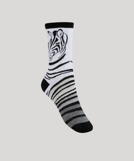 Meia-Feminina-Cano-Alto-Estampado-Animal-Print-de-Zebra-Branca-9954821-Branco_1