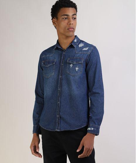 Camisa-Jeans-Masculina-Tradicional-Destroyed-com-Bolsos-Manga-Longa-Azul-Escuro-9943160-Azul_Escuro_1