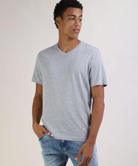 Camiseta-Masculina-Basica-Manga-Curta-Gola-V-Cinza-Mescla-Claro-9597169-Cinza_Mescla_Claro_1