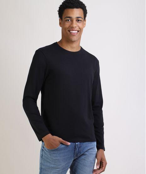 Camiseta-Masculina-Basica-Comfort-Fit-Manga-Longa-Gola-Careca-Preta-9826872-Preto_1