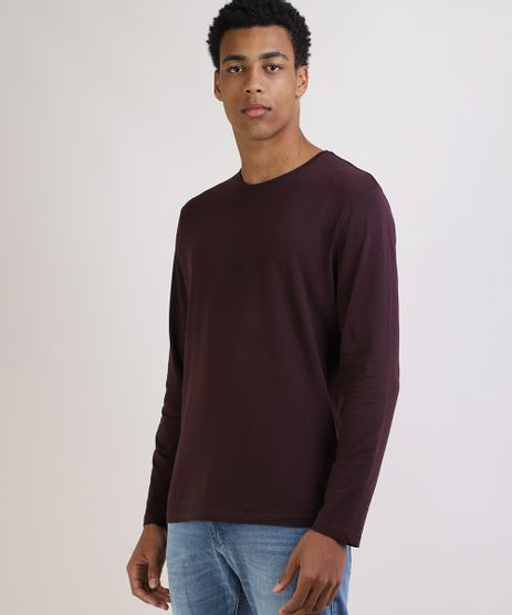 Camiseta-Masculina-Basica-Comfort-Fit-Manga-Longa-Gola-Careca--Vinho-9826872-Vinho_1