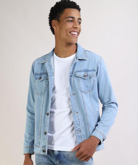 Jaqueta-Jeans-Masculina-Trucker-Manga-Longa-com-Bolsos-e-Botoes-Azul-Claro-9956498-Azul_Claro_1