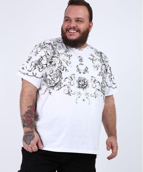 Camiseta-Masculina-Plus-Size-com-Arabescos-e-Tigre-Manga-Curta-Gola-Careca-Branca-9953077-Branco_1