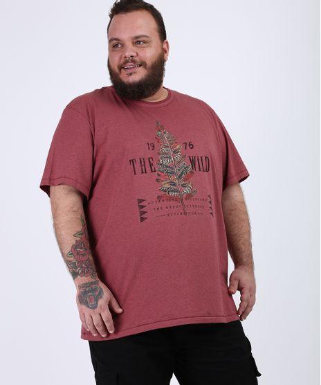 Camiseta-Masculina-Plus-Size--The-Wild--Manga-Curta-Gola-Careca-Vinho-9955113-Vinho_1