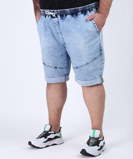 Bermuda-Jeans-Masculina-Plus-Size-Marmorizada-Relaxed-com-Recorte-Azul-Claro-9956626-Azul_Claro_1
