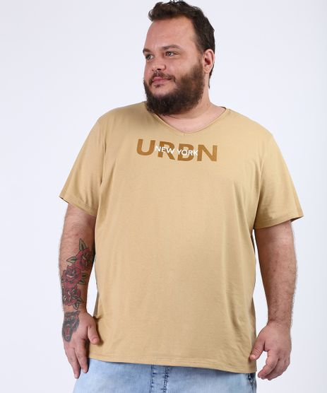 Camiseta-Masculina-Plus-Size--New-York--Manga-Curta-Gola-V-Bege-9956878-Bege_1