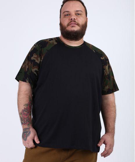 Camiseta-Masculina-Plus-Size-Raglan-com-Estampa-Camuflada-Manga-Curta-Gola-Careca-Preta-9958545-Preto_1