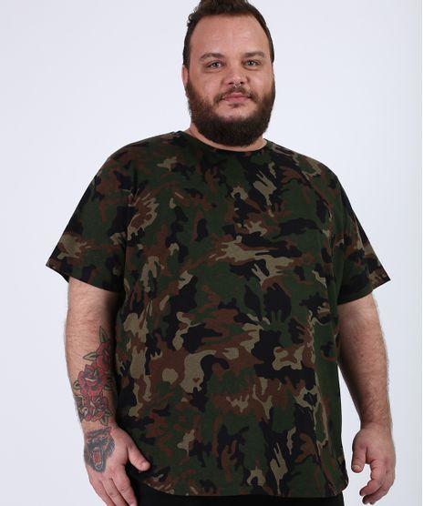 Camiseta-Masculina-Plus-Size-Estampada-Camuflada-Manga-Curta-Gola-Careca-Verde-Militar-9958546-Verde_Militar_1