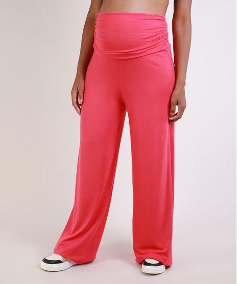 Calca-Feminina-Gestante-Pantalona-Cintura-Alta-com-Franzidos-Pink-9956003-Pink_1
