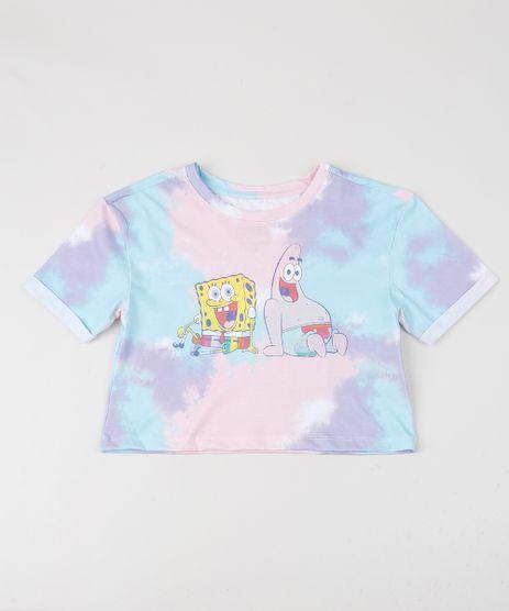Blusa-Juvenil-Cropped-Bob-Esponja-Estampada-Tie-Dye-Manga-Curta-Azul-9955606-Azul_1