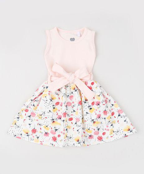 Vestido-Infantil-Estampado-Floral-com-Faixa-para-Amarrar-sem-Manga-Rosa-9947985-Rosa_1