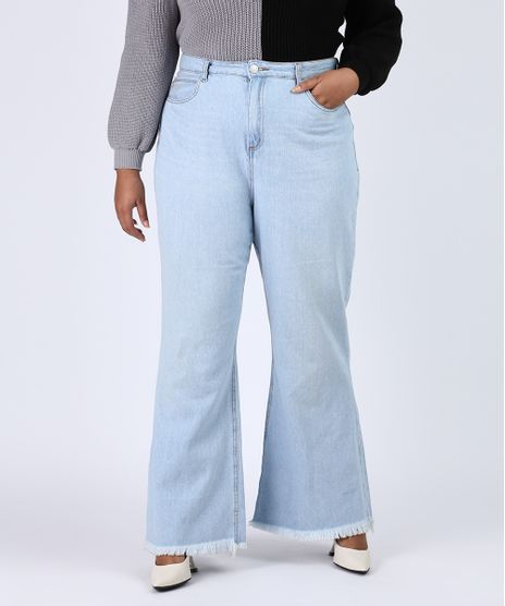 Calca-Jeans-Feminina-Plus-Size-Pantalona-Cintura-Super-Alta-com-Barra-Desfiada-Azul-Claro-9956109-Azul_Claro_1