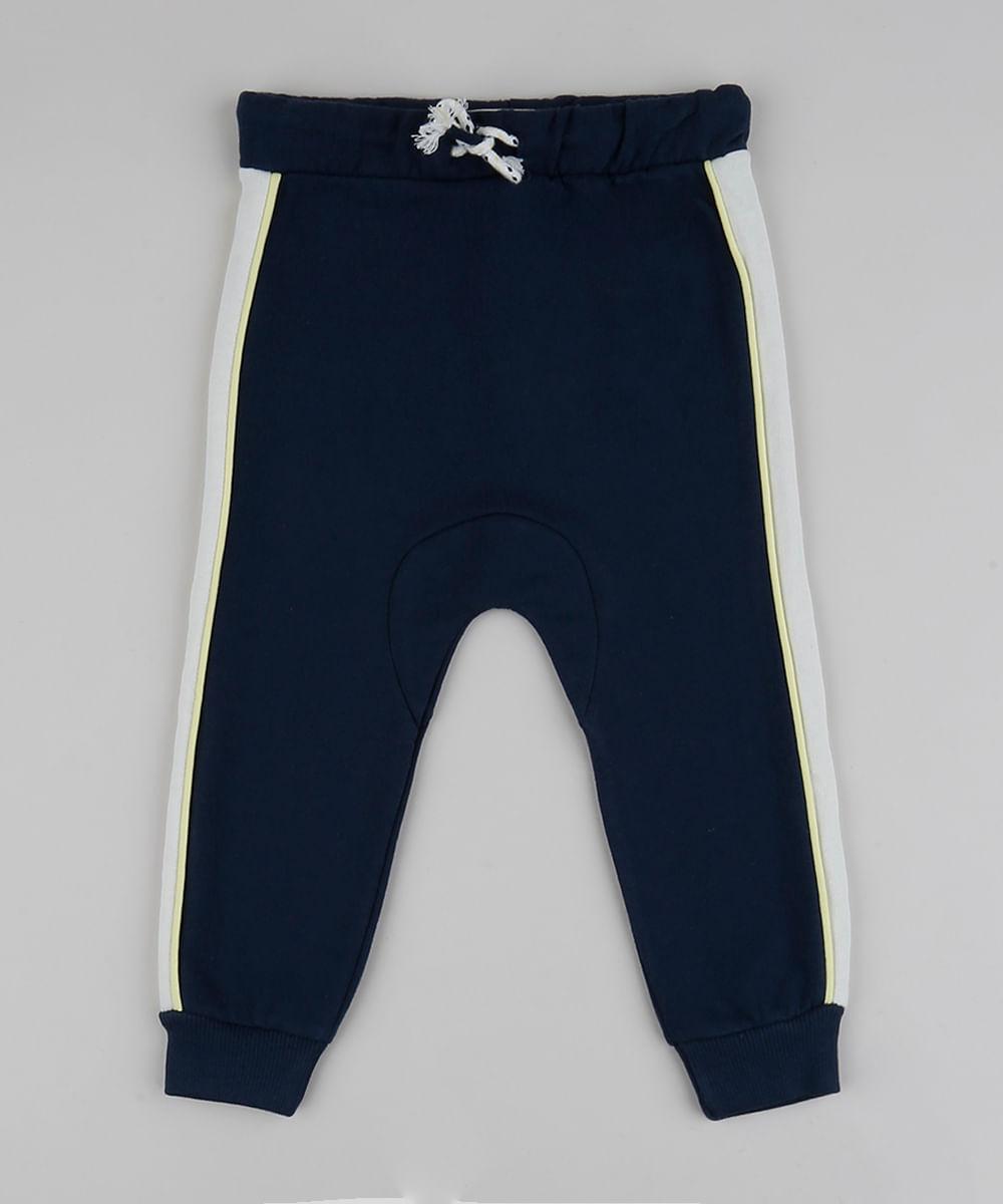 Calça Infantil com Faixas Laterais e Cordão Azul Marinho