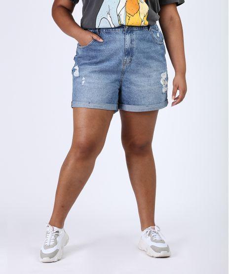 Short-Jeans-Feminino-Plus-Size-Mom-Cintura-Alta-Destroyed-Marmorizado-Azul-Medio-9952908-Azul_Medio_1