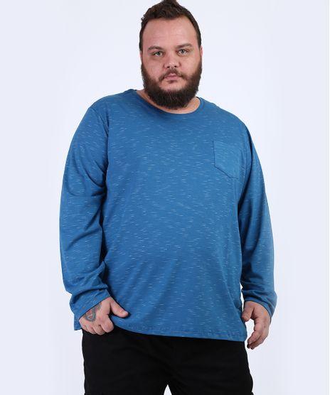 Camiseta-Masculina-Plus-Size-Basica-com-Bolso-Manga-Longa-Gola-Careca-Azul-9954909-Azul_1