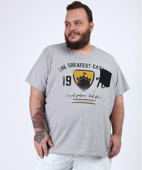 Camiseta-Masculina-Plus-Size-Brasao-Castelo-com-Bolso-Manga-Curta-Gola-Careca-Cinza-Mescla-9955105-Cinza_Mescla_1