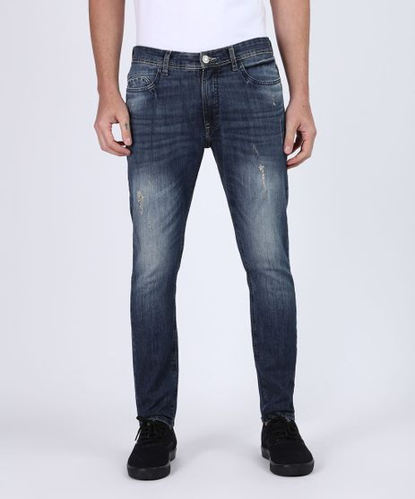 Calca-Jeans-Masculina-Carrot-Destroyed-com-Bolsos-Azul-Escuro-9943860-Azul_Escuro_1