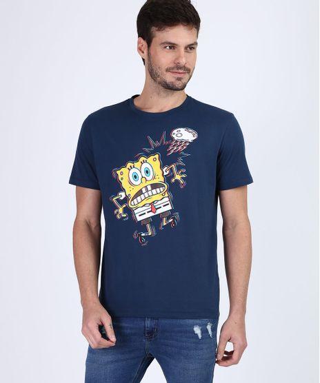 Camiseta-Masculina-Bob-Esponja-Manga-Curta-Gola-Careca-Azul-Marinho-9955432-Azul_Marinho_1