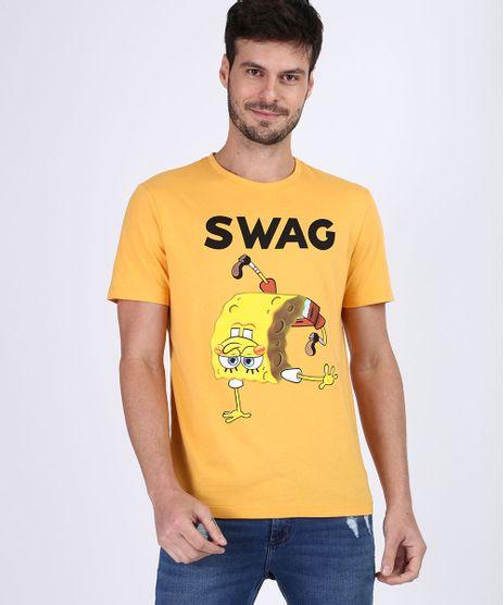 Camiseta-Masculina-Bob-Esponja-Manga-Curta-Gola-Careca-Amarela-9955441-Amarelo_1
