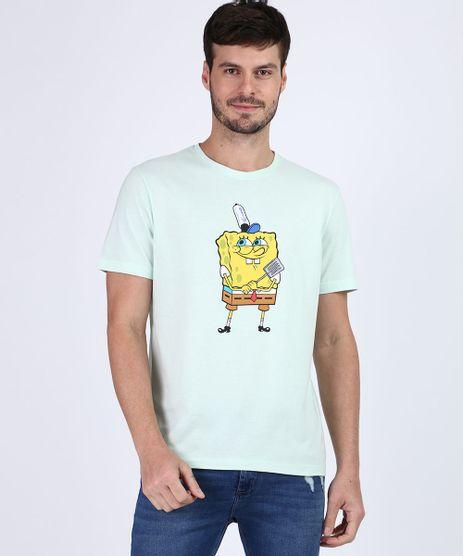 Camiseta-Masculina-Bob-Esponja-Manga-Curta-Gola-Careca-Verde-Claro-9955449-Verde_Claro_1