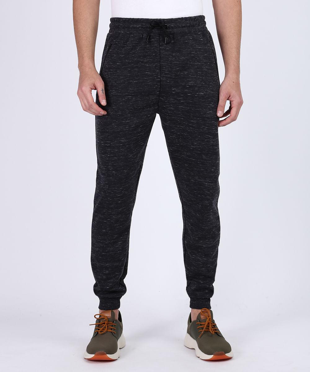 Calça de Moletom Masculino Relaxed com Bolsos e Cordão Para Amarrar Cinza Mescla Escuro