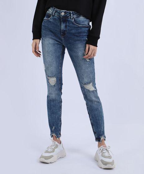 Calca-Jeans-Feminina-Skinny-Destroyed-Cintura-Alta-com-Bolsos-Azul-9946459-Azul_1