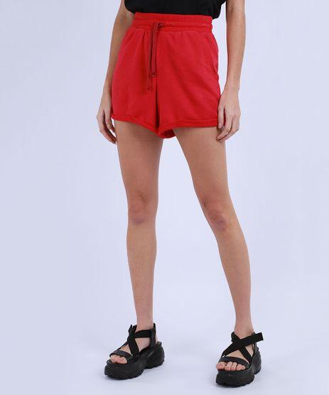 Short-de-Moletom-Feminino-Basico-Cintura-Alta-com-Barra-Dobrada-Vermelho-9950156-Vermelho_1_1