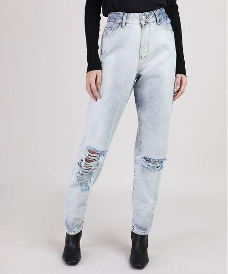 Calca-Jeans-Feminina-Mom-Cintura-Alta-com-Rasgos-Azul-Claro-9946329-Azul_Claro_1