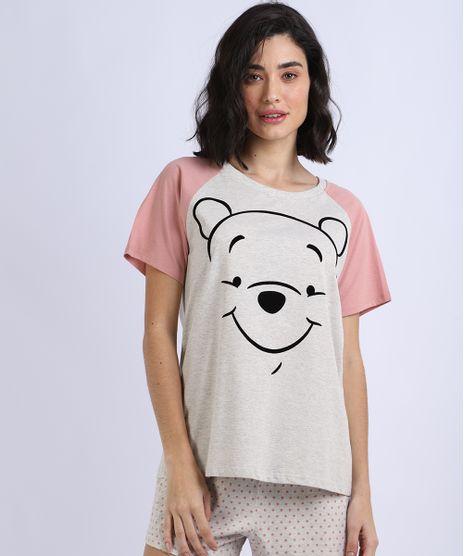 Pijama-Feminino-Ursinho-Pooh-Raglan-Manga-Curta-Cinza-Mescla-Claro-9948658-Cinza_Mescla_Claro_1