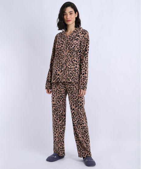 Pijama-de-Fleece-Feminino-Estampado-Animal-Print-com-Botoes-Manga-Longa-Rosa-9836380-Rosa_1