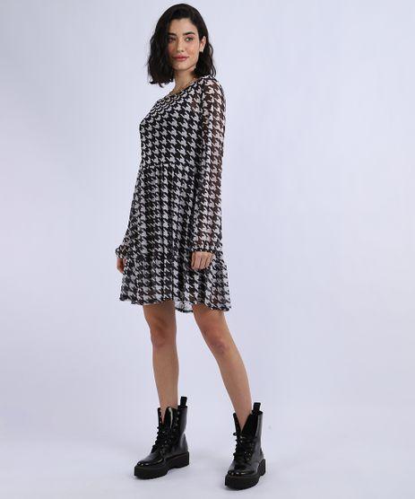 Vestido-em-Tule-Feminino-Curto-Estampado-Pied-de-Poule-Manga-Longa-Preto-9947114-Preto_1