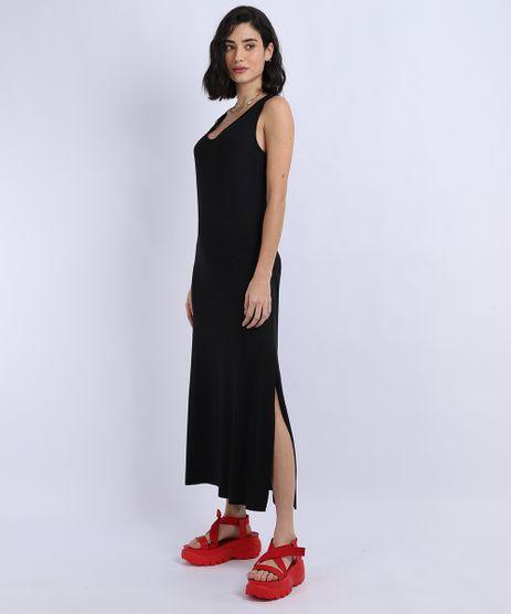Vestido-Feminino-Basico-Midi-com-Fenda-Decote-Nadador-Preto-9949048-Preto_1