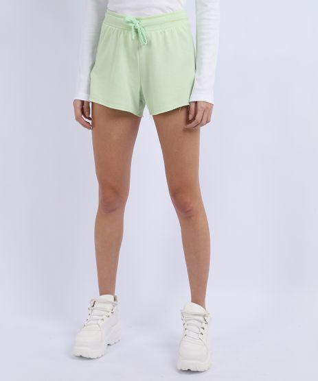 Short-de-Moletom-Feminino-Basico-Running-com-Recorte-Cintura-Alta-Verde-Claro-9950161-Verde_Claro_1