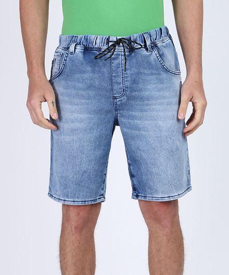 Bermuda-Jeans-Masculina-em-Moletom-Relaxed-com-Bolsos-Azul-Medio-9952810-Azul_Medio_1
