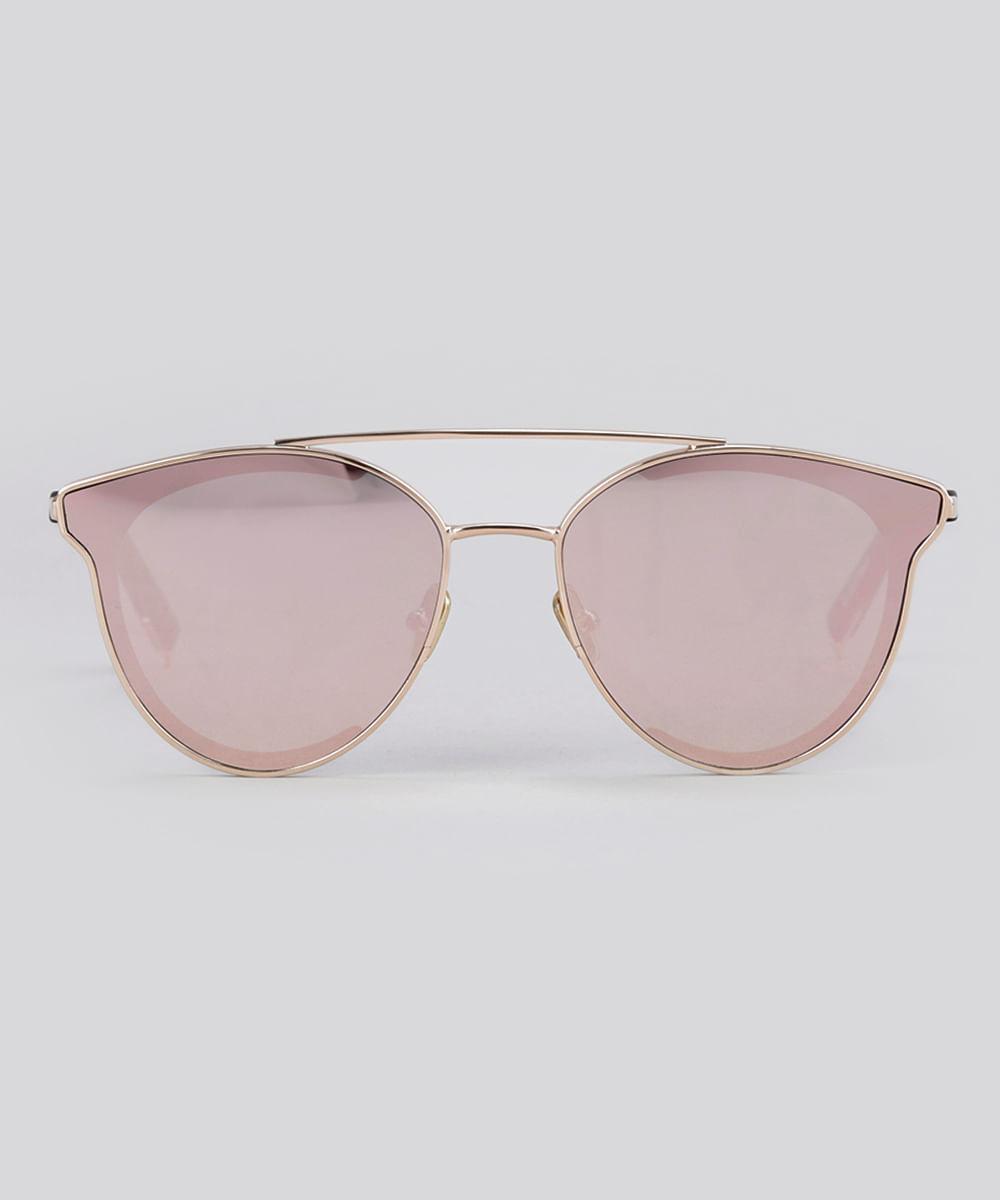 022af3d2b Óculos de Sol Redondo Espelhado Feminino Oneself Rosê - cea