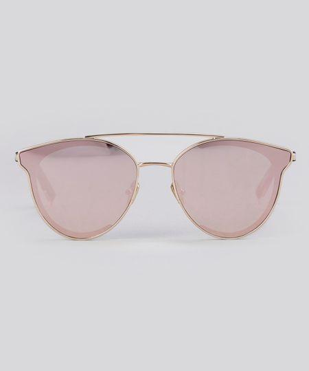 b2df5fe84781d Óculos de Sol Redondo Espelhado Feminino Oneself Rosê - cea