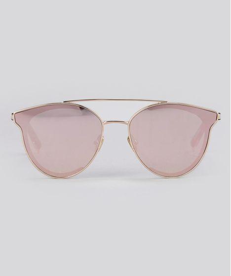 Óculos de Sol Redondo Espelhado Feminino Oneself Rosê - cea b35557715d