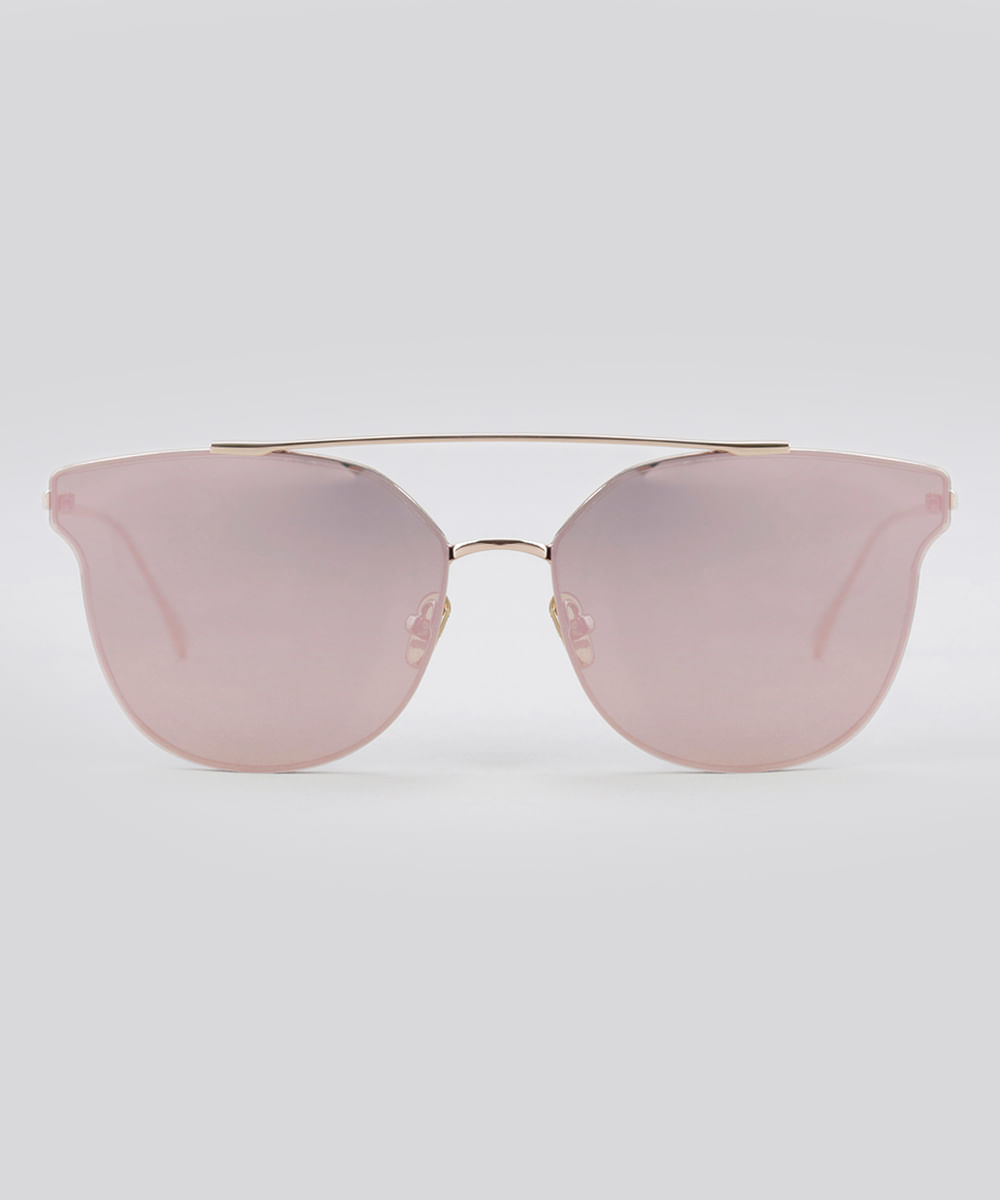 35b026057a Óculos de Sol Redondo Espelhado Feminino Oneself Dourado - Único