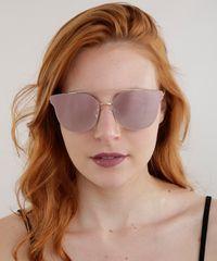 1835feedd ... Oculos-de-Sol-Redondo-Espelhado-Feminino-Oneself-Dourado- ...