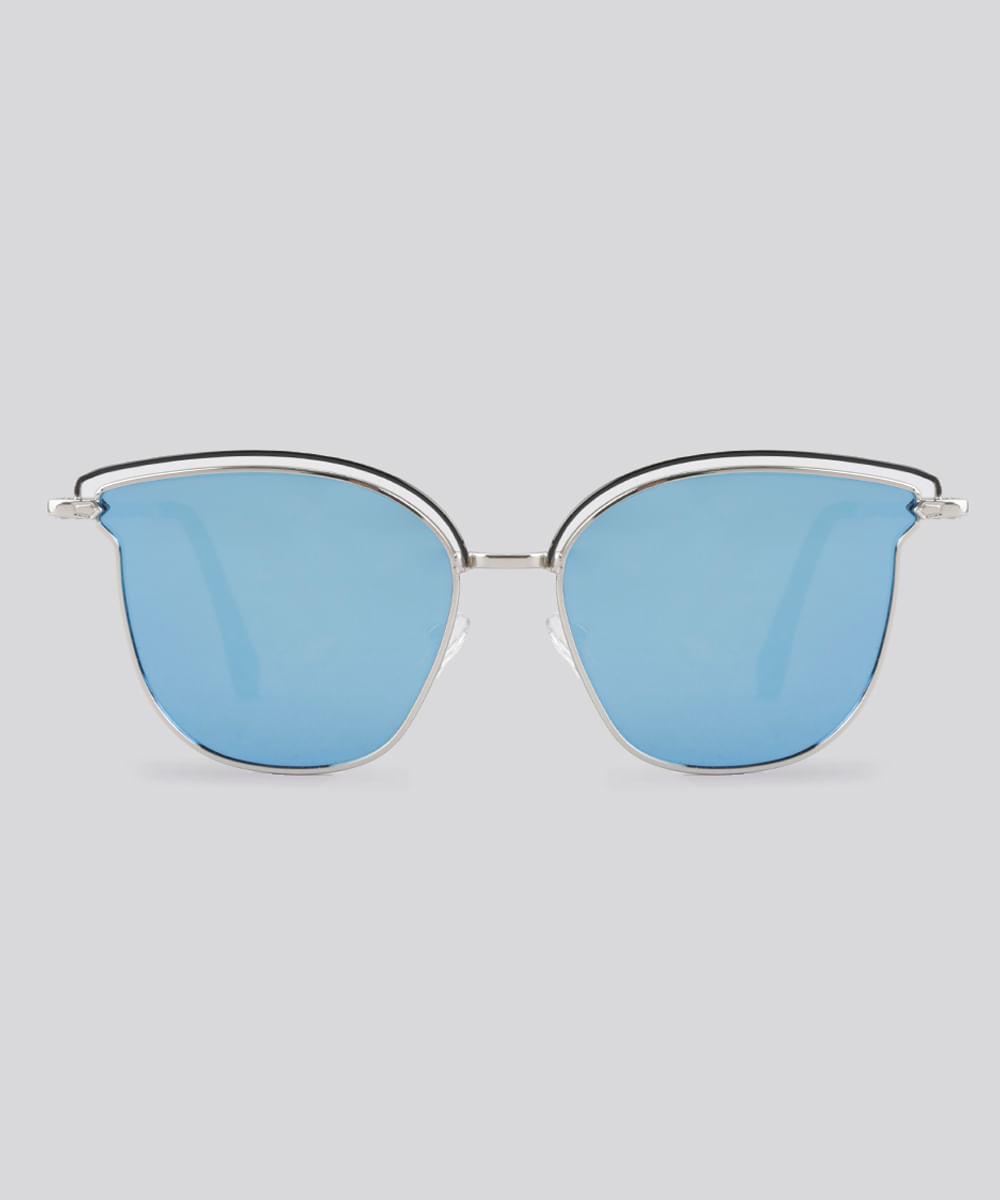 Óculos de Sol Redondo Espelhado Feminino Oneself Prateado - Único 0d46e395b3