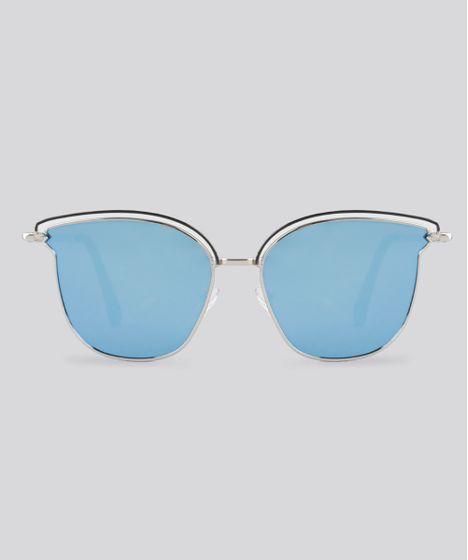 dc0510b4664cd Óculos de Sol Redondo Espelhado Feminino Oneself Prateado - cea